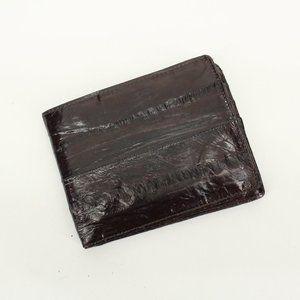 Vintage Dark Brown Eel Skin Leather Wallet